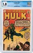 INCREDIBLE HULK #3 SEPTEMBER 1962 CGC 1.8 GOOD- (FIRST