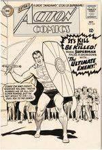 ACTION COMICS #329 COMIC BOOK COVER ORIGINAL ART BY