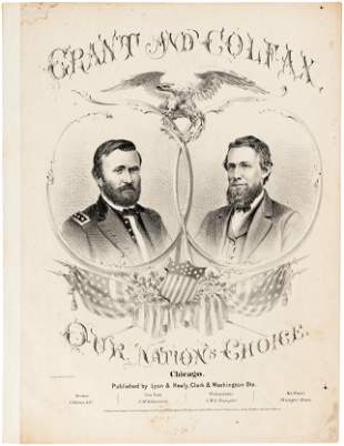 GRANT AND COLFAX OUR NATIONS CHOICE 1868 JUGATE SHEET