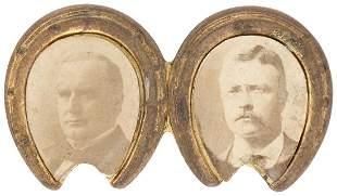 McKINLEY & ROOSEVELT APPLIED JUGATE PORTRAIT BRASS