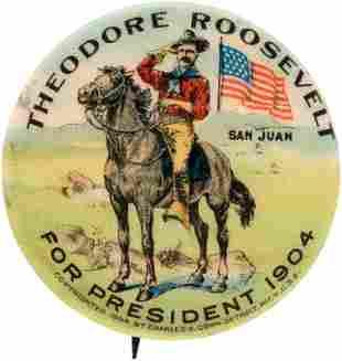 "ROOSEVELT ""SAN JUAN"" 1904 CAMPAIGN BUTTON HAKE #71."