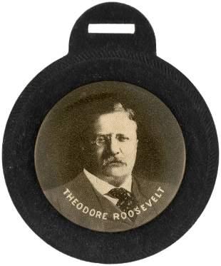 THEODORE ROOSEVELT STOIC PORTRAIT BUTTON WATCH FOB.