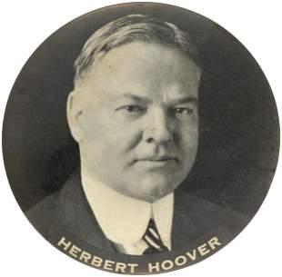 "HERBERT HOOVER RARE 4"" PORTRAIT BUTTON CAR RADIATOR"