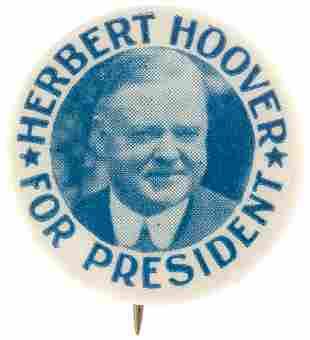 HERBERT HOOVER FOR PRESIDENT BLUE-TONE PORTRAIT BUTTON