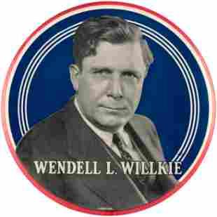 WENDELL L. WILLKIE HUGE CELLO PORTRAIT BUTTON.