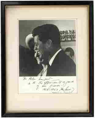 JOHN F. KENNEDY & JACQUELINE KENNEDY 1963 INSCRIBED &