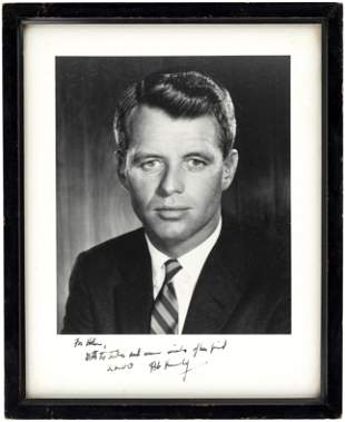 BOBBY KENNEDY SIGNED & INSCRIBED PHOTO TO WHITE HOUSE