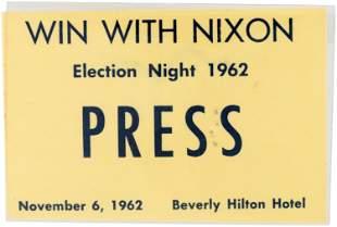 WIN WITH NIXON ELECTION NIGHT PRESS RARE 1962