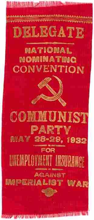 """COMMUNIST PARTY 1932 """"DELEGATE NATIONAL NOMINATING"""