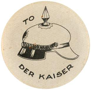 """RARE WWI REBUS BUTTON """"TO (HELMET= HELL WITH) DER"""