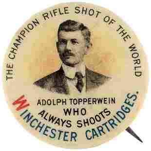 WINCHESTER CARTRIDGES BUTTON W/ENDORSEMENT OF ADOLPH