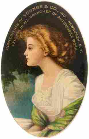 POCKET MIRROR IN SOFT MULTICOLOR OF YOUNG WOMAN W/ GOLD