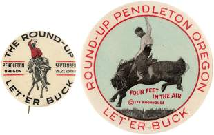 PENDLETON ROUND-UP BUTTONS: 1912 & RARITY W/COPYRIGHTED