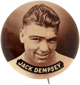 1919 JACK DEMPSEY SEPIA REAL PHOTO BUTTON.