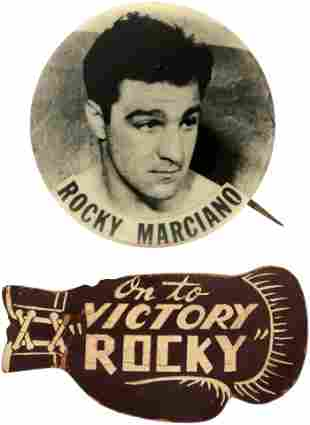 """C. 1952 """"ROCKY MARIANO"""" BUTTON AND LEATHER GLOVE BADGE"""