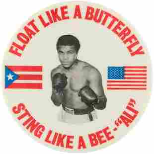 """1976 ALI 3"""" BUTTON FOR 1976 PUERTO RICO FIGHT WITH"""