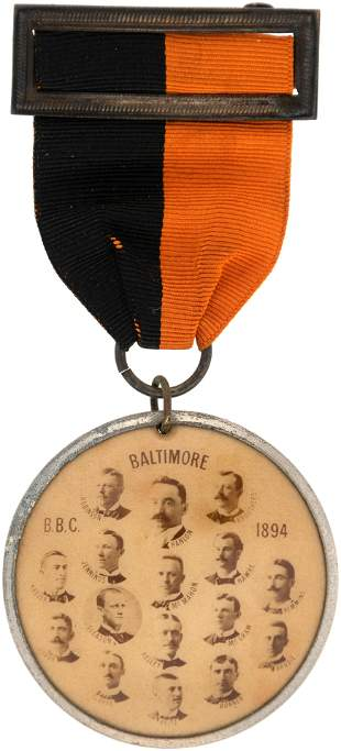 """1894 BALTIMORE ORIOLES """"CHAMPIONS OF THE WORLD"""" BADGE"""