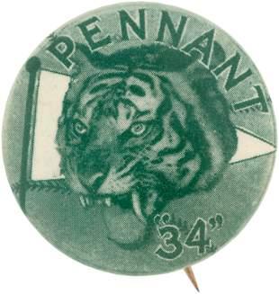 "1934 DETROIT TIGERS AMERICAN LEAGUE ""PENNANT"" WINNERS"