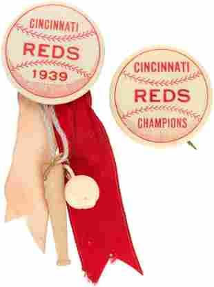 "1939 CINCINNATI REDS BUTTON PAIR INCLUDING ""CHAMPIONS"""