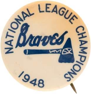 "1948 BOSTON BRAVES ""NATIONAL LEAGUE CHAMPIONS"" BUTTON."