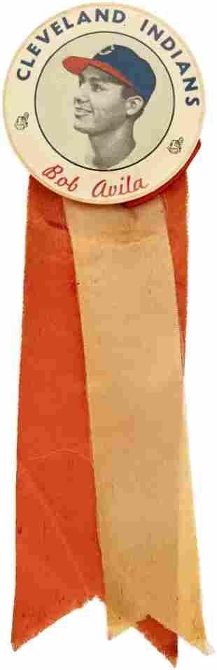 C. 1949 BOB AVILA CLEVELAND INDIANS PM10 STADIUM BUTTON