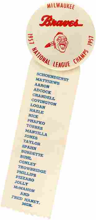"""1957 MILWAUKEE BRAVES """"NATIONAL LEAGUE CHAMPS"""" BUTTON"""