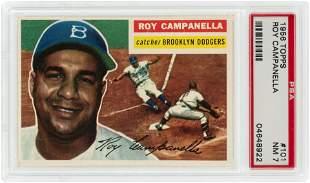 1956 TOPPS - GREY BACK #101 ROY CAMPANELLA (HOF) PSA 7