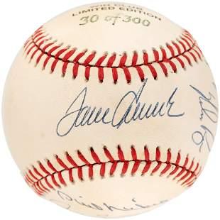 MLB 300 WIN CLUB BASEBALL SIGNED BY 8 HOF MEMBERS.