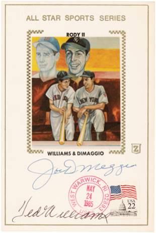 TED WILLIAMS (HOF) & JOE DiMAGGIO (HOF) SIGNED POSTCARD