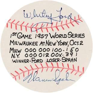 "1957 WORLD SERIES FAN MADE GAME STAT PAPER ""BASEBALLS"""