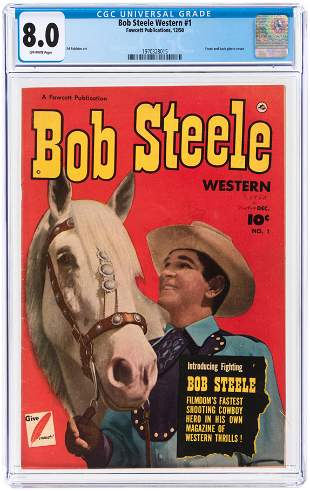 BOB STEELE WESTERN #1 DECEMBER 1950 CGC 8.0 VF.