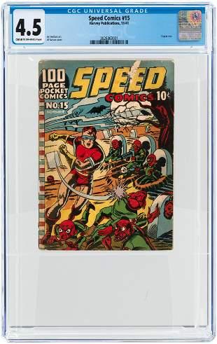 SPEED COMICS #15 NOVEMBER 1941 CGC 4.5 VG+.
