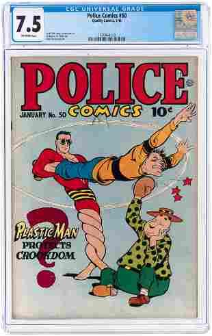 POLICE COMICS #50 JANUARY 1946 CGC 7.5 VF-.