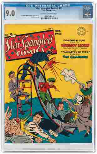 STAR SPANGLED COMICS #15 DECEMBER 1942 CGC 9.0 VF/NM.