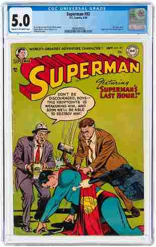 SUPERMAN #92 SEPTEMBER 1954 CGC 5.0 VG/FINE.
