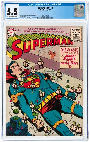 SUPERMAN #102 JANAURY 1956 CGC 5.5 FINE-.