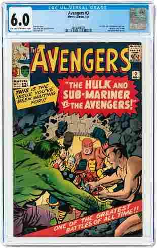 AVENGERS #3 JANUARY 1964 CGC 6.0 FINE.