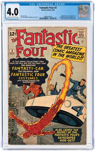 FANTASTIC FOUR #3 MARCH 1962 CGC 4.0 VG (FIRST