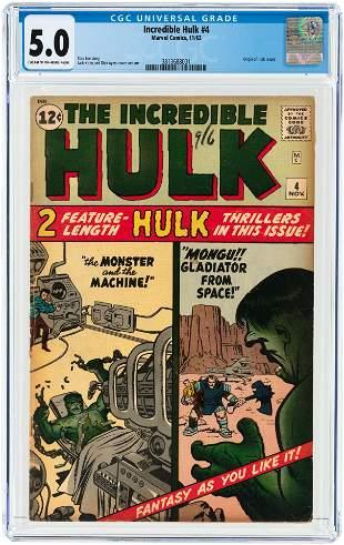 INCREDIBLE HULK #4 NOVEMBER 1962 CGC 5.0 VG/FINE.