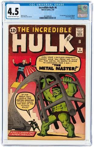 INCREDIBLE HULK #6 MARCH 1963 CGC 4.5 VG+.