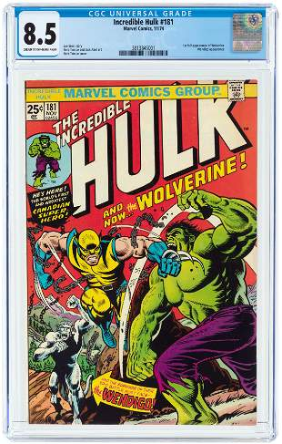 INCREDIBLE HULK #181 NOVEMBER 1974 CGC 8.5 VF+ (FIRST