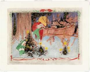 A CHRISTMAS EVE DREAM NEWSPAPER ORIGINAL ART BY NELL