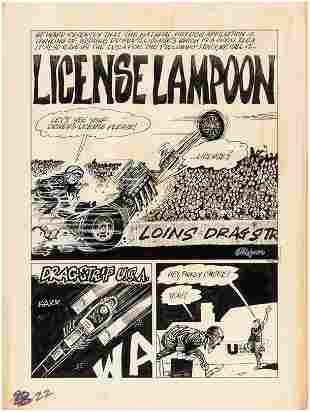 """DRAG CARTOONS #6 """"LICENSE LAMPOON"""" COMPLETE COMIC STORY"""