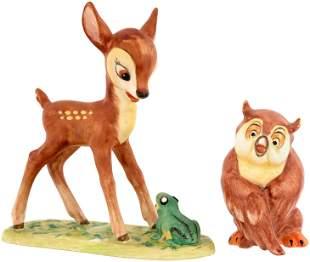 BAMBI & FRIEND OWL LARGE GOEBEL FIGURINE PAIR.