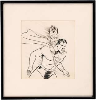 SUPERMAN 1940s BIRTHDAY CARD FRAMED ORIGINAL ART.