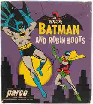 OFFICIAL BATMAN AND ROBIN BOOTS BOXED.