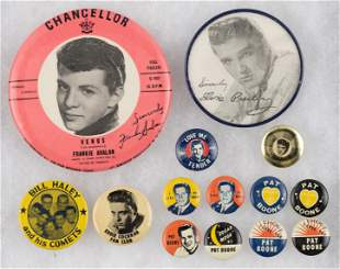1950s MUSIC ICONS PIN-BACK BUTTONS AND EPHEMERA