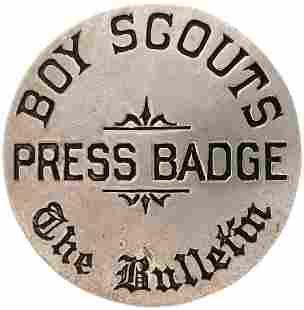 """BOY SCOUTS/PRESS BADGE/THE BULLETIN"" C. 1920-26"