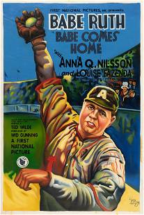 BABE RUTH IN BABE COMES HOME MOVIE POSTER RECREATION