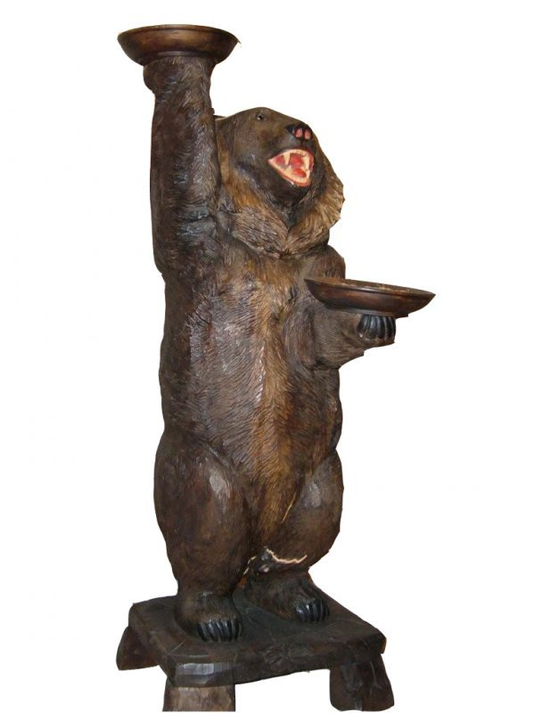 4: Wood carved standing bear